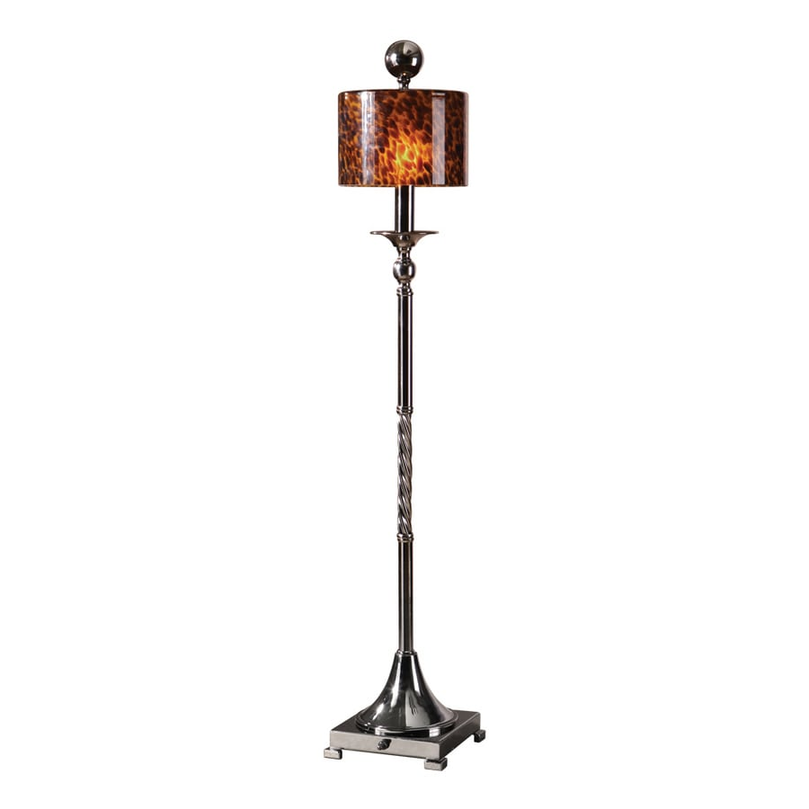 Global Direct 35 Black Chrome Table Lamp With Amber And Brown