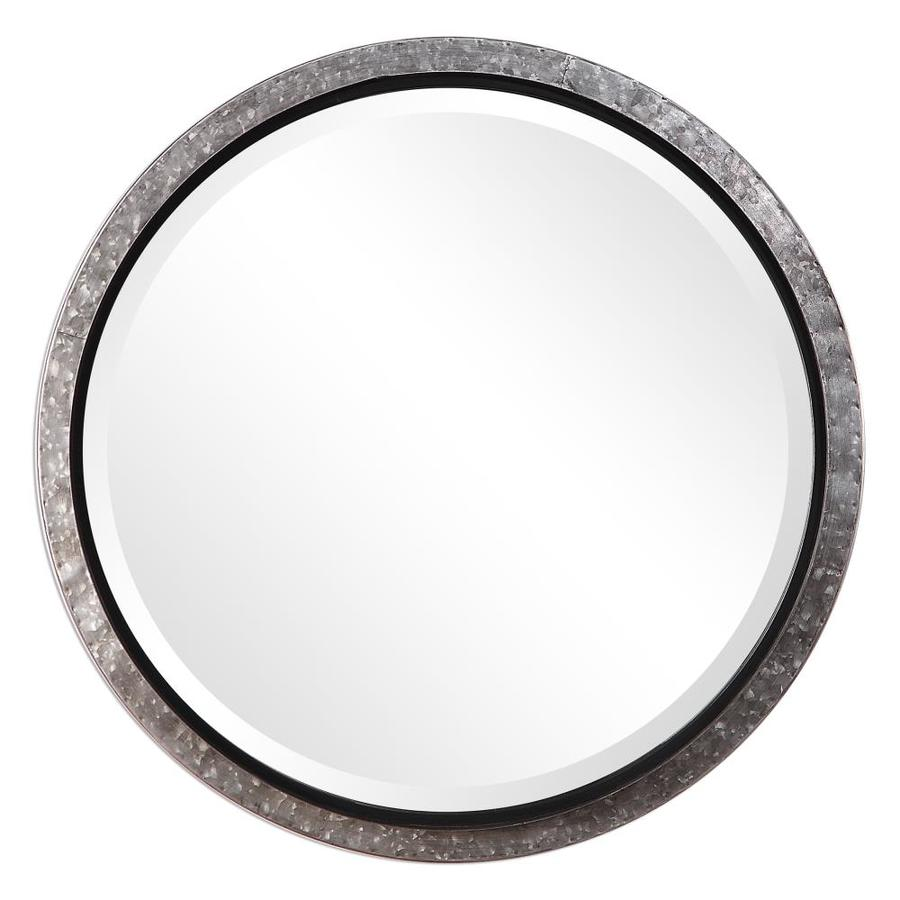 Global Direct 26 In L X W Galvanized Metal Framed Round Wall Mirror Only