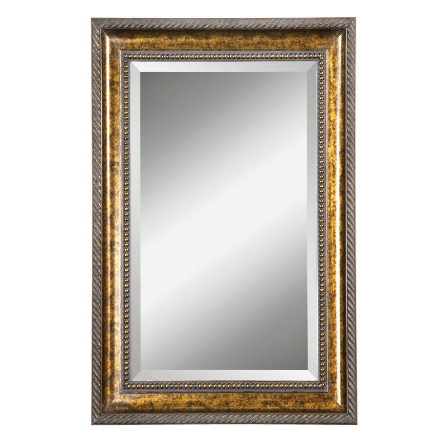 Global Direct 31.75-in x 48.75-in Gold Leaf Undercoat with Blotched Brown Stain, Black Specking and A Dark Gray Glaze Beveled Rectangle Framed French Wall Mirror