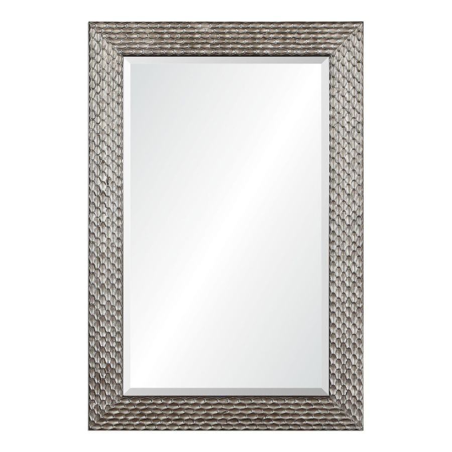 allen + roth 24-in x 36-in Silver Beveled Rectangle Framed Contemporary Wall Mirror