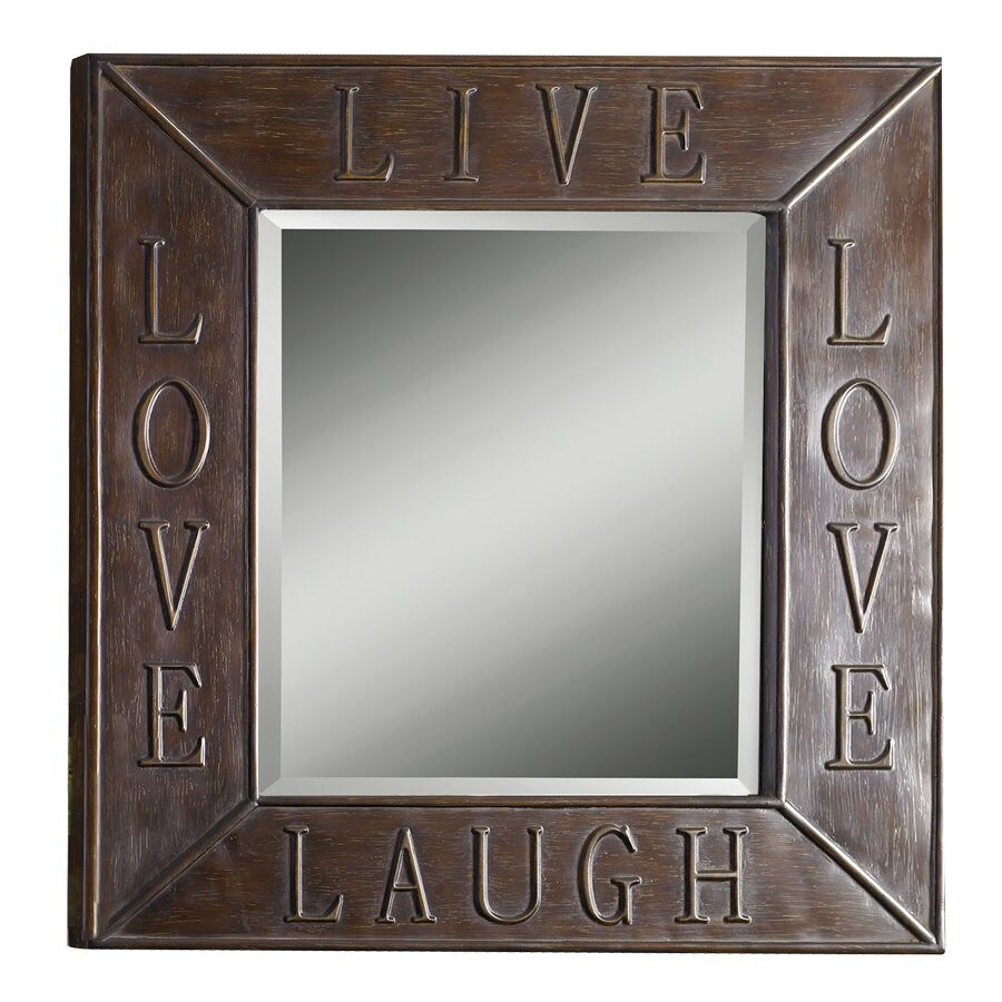 allen + roth 29.875-in x 34-in Bronze Beveled Rectangle Framed French Wall Mirror