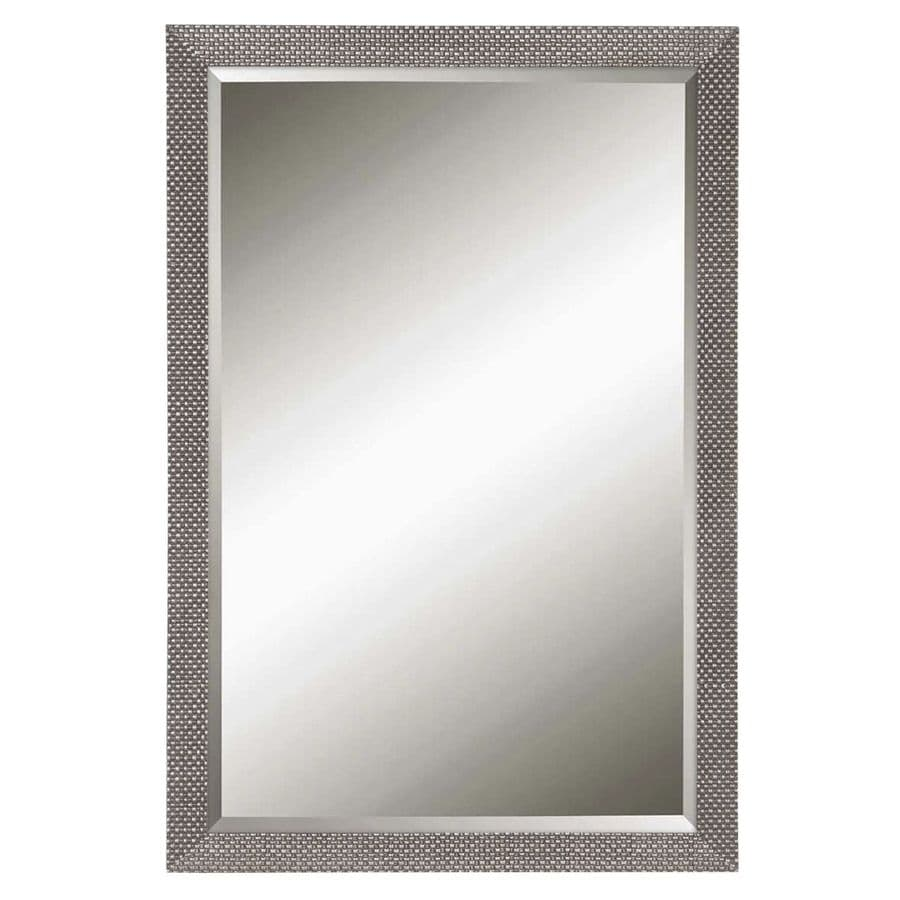 allen + roth 20.44-in x 30.44-in Silver Beveled Rectangle Framed French Wall Mirror