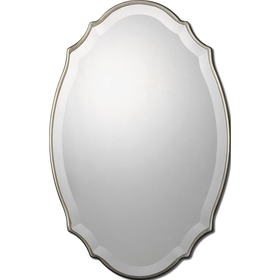 Shop allen roth silver beveled oval wall mirror at for White mirror