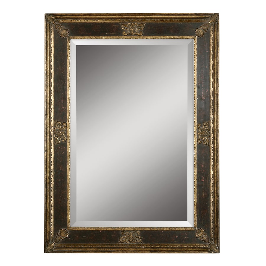 Global Direct Burnished Wood Tone Beveled Wall Mirror