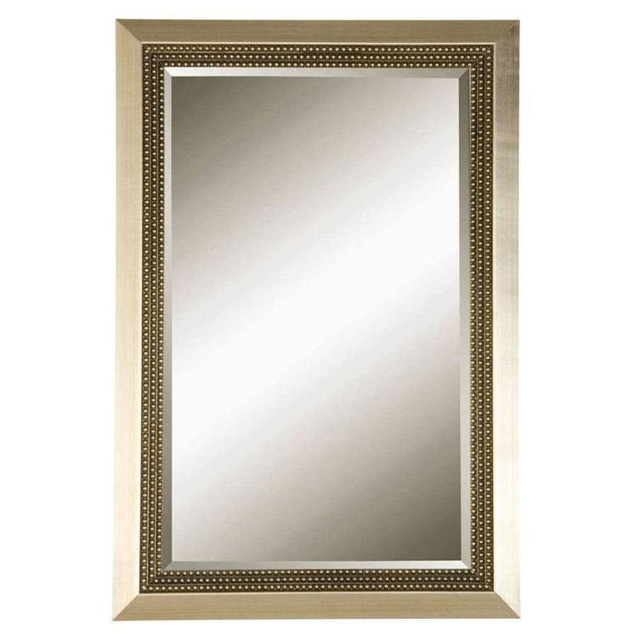 allen + roth 24-in x 36-in Metal leaf Beveled Rectangle Framed Transitional Wall Mirror