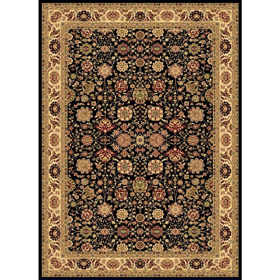 Rugs America New Vision Tabriz Black Rectangular Indoor Woven Area Rug (Common: 4 x 6; Actual: 47-in W x 63-in L)