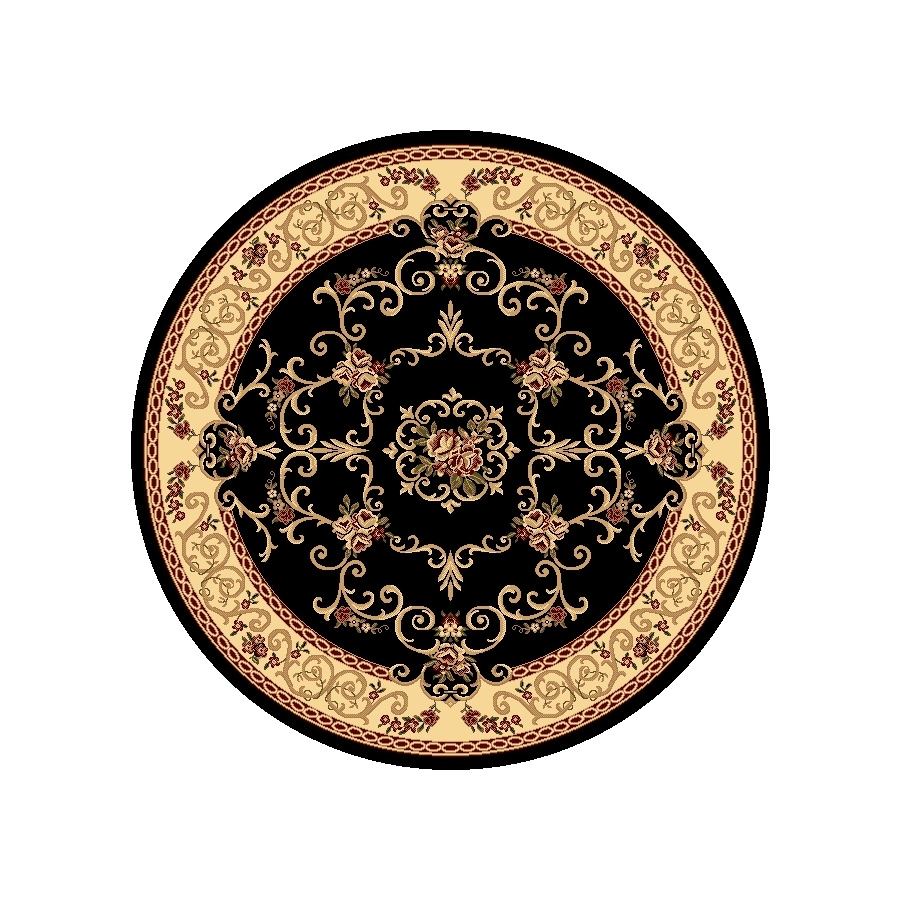 Rugs America New Vision Round Black Floral Woven Area Rug (Common: 5-ft x 5-ft; Actual: 5.25-ft x 5.25-ft)