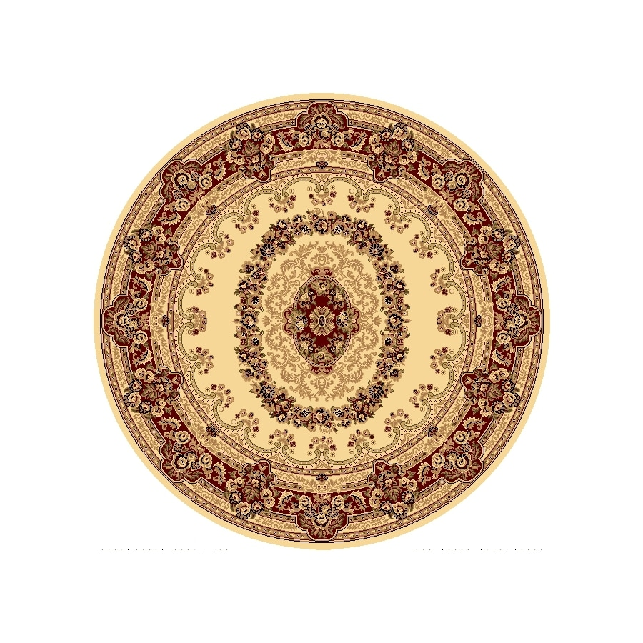 Rugs America New Vision Kerman Cream Round Indoor Woven Area Rug (Actual: 5.25-ft Dia)