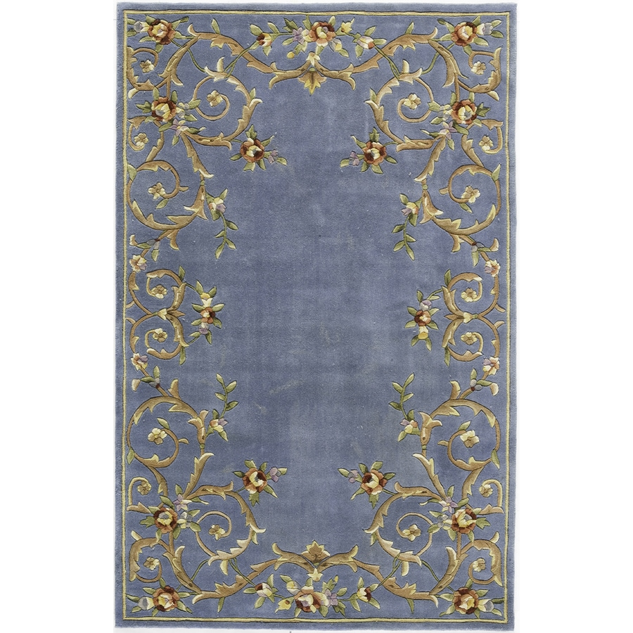Rugs America Flora 18-in x 27-in Rectangular Blue Floral Wool Accent Rug