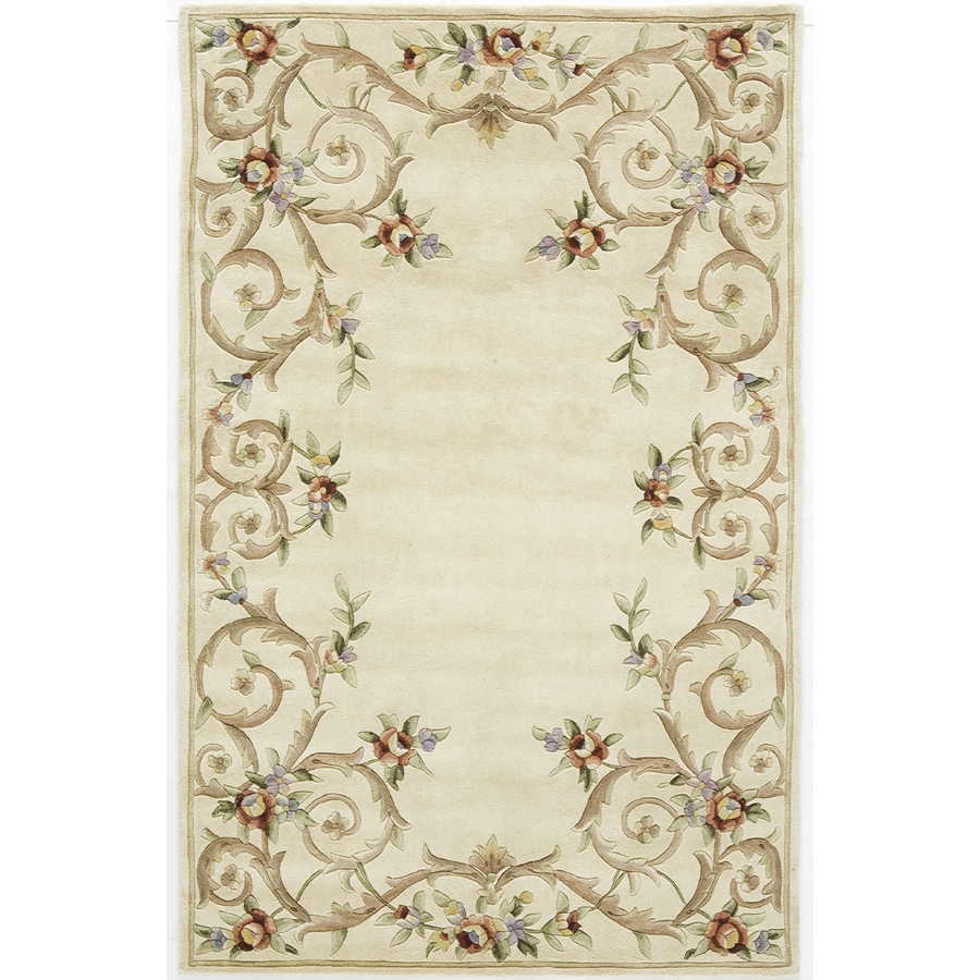 Rugs America Flora 3-ft 6-in x 5-ft 6-in Rectangular Beige Floral Area Rug