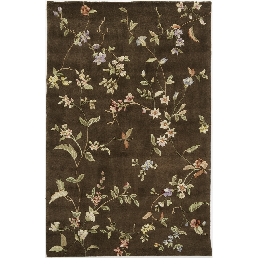 Rugs America 18-in x 27-in Mocha Brown Flora Accent Rug