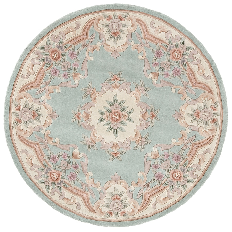 Rugs America New Aubusson Light Green Round Indoor Tufted Area Rug Actual 6
