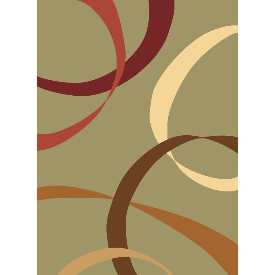 Rugs America Torino Ribbons Light Green Rectangular Indoor Woven Area Rug (Common: 4 x 6; Actual: 47-in W x 63-in L)