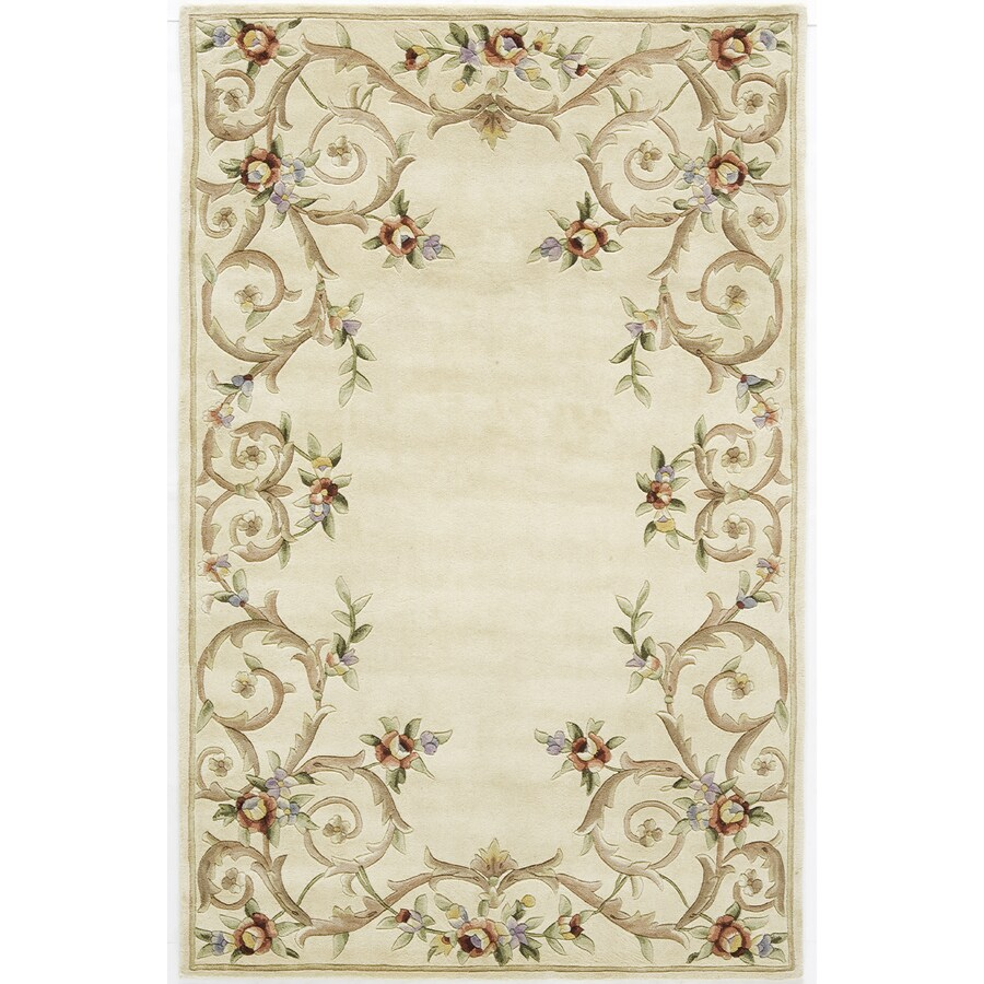 Rugs America Flora 5-ft x 8-ft Rectangular Cream Floral Wool Area Rug