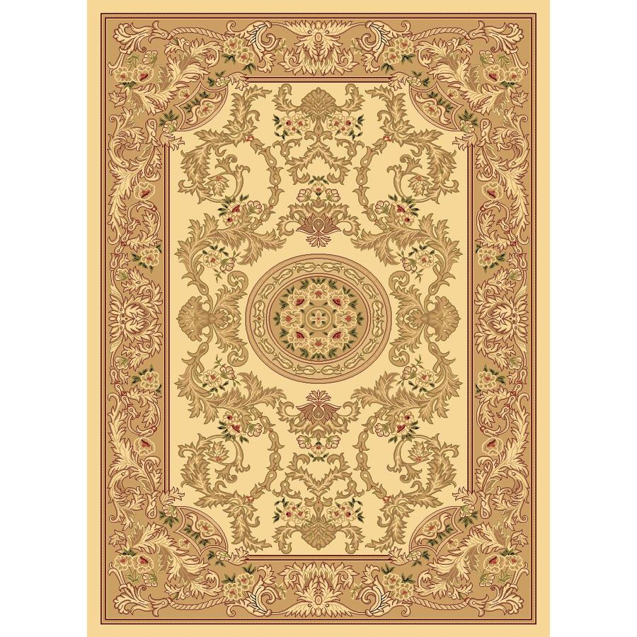 Rugs America New Vision 24-in x 35-in Rectangular Beige Floral Accent Rug