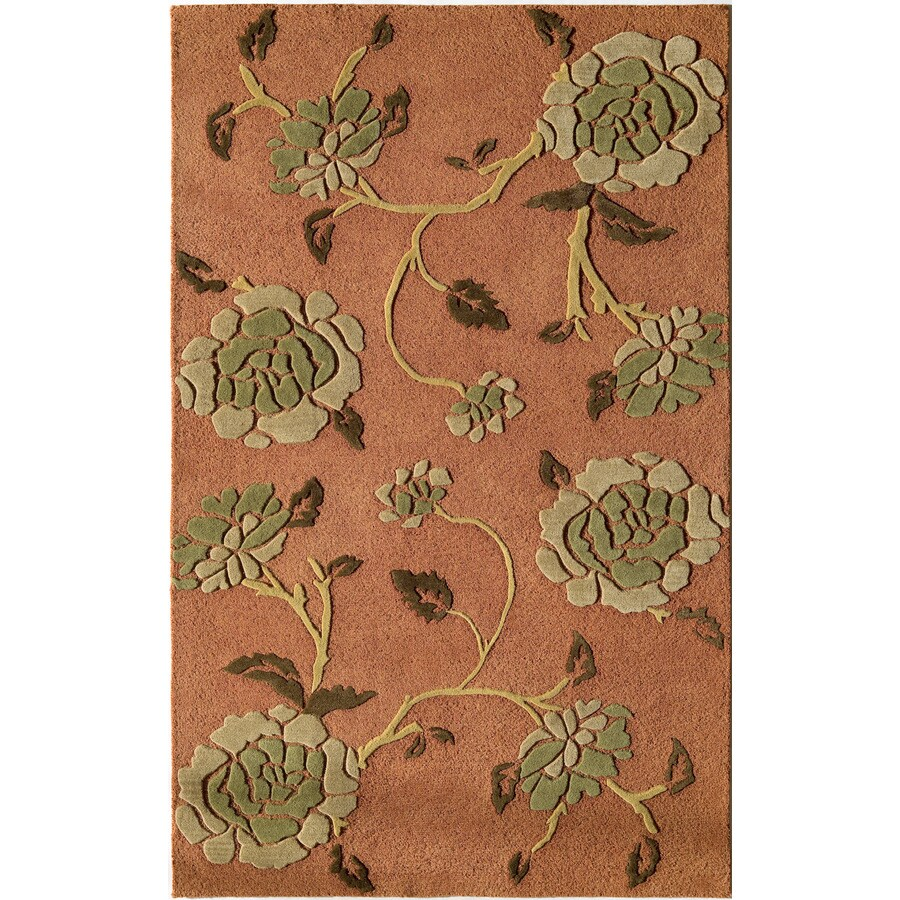 Rugs America Pacific 8-ft x 11-ft Rectangular Red Floral Wool Area Rug