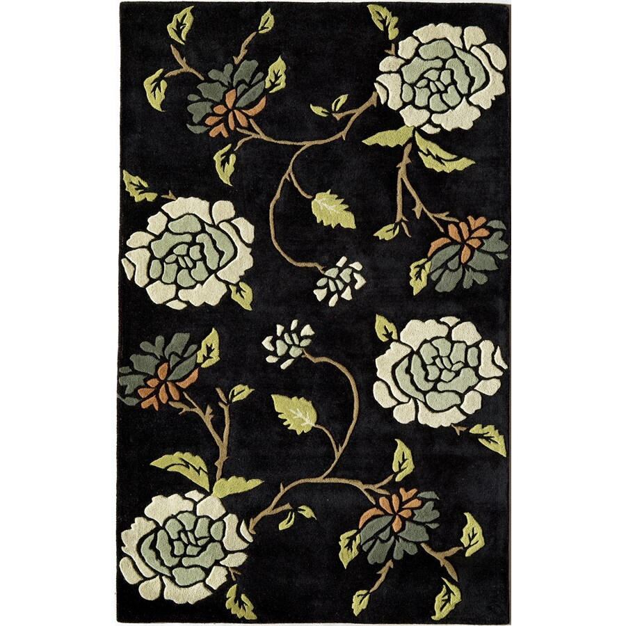 Rugs America Pacific 8-ft x 11-ft Rectangular Black Floral Wool Area Rug