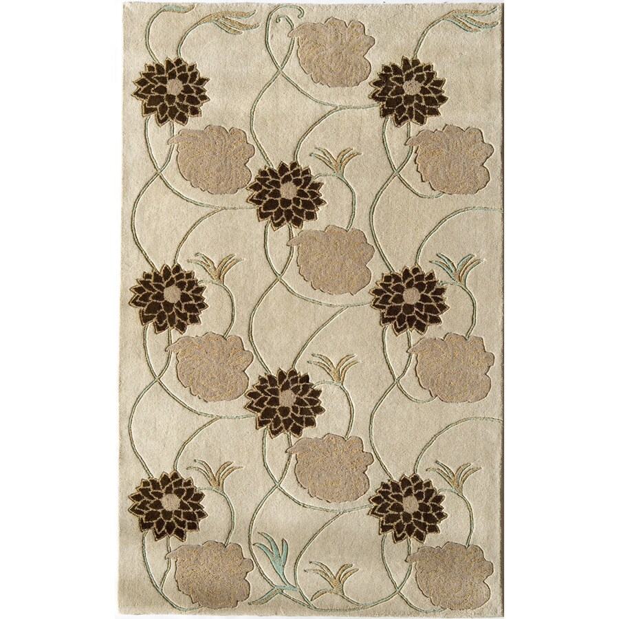 Rugs America Pacific 7-ft x 9-ft Rectangular Cream Floral Wool Area Rug
