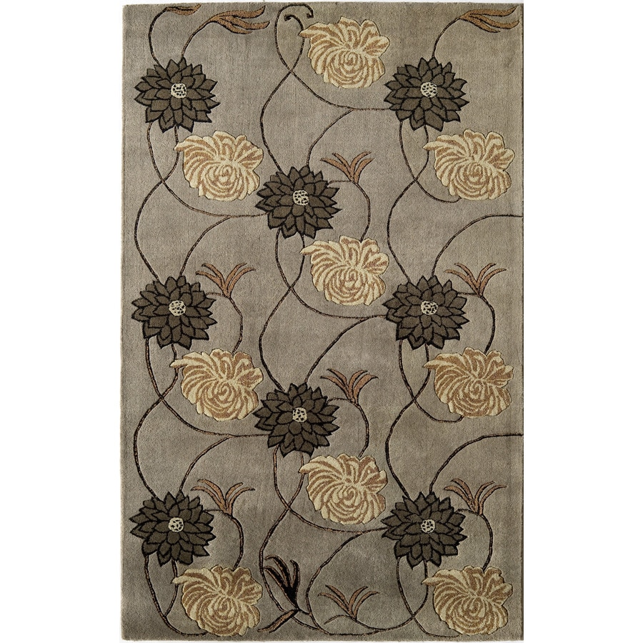 Rugs America Pacific 5-ft x 8-ft Rectangular Gray Floral Wool Area Rug