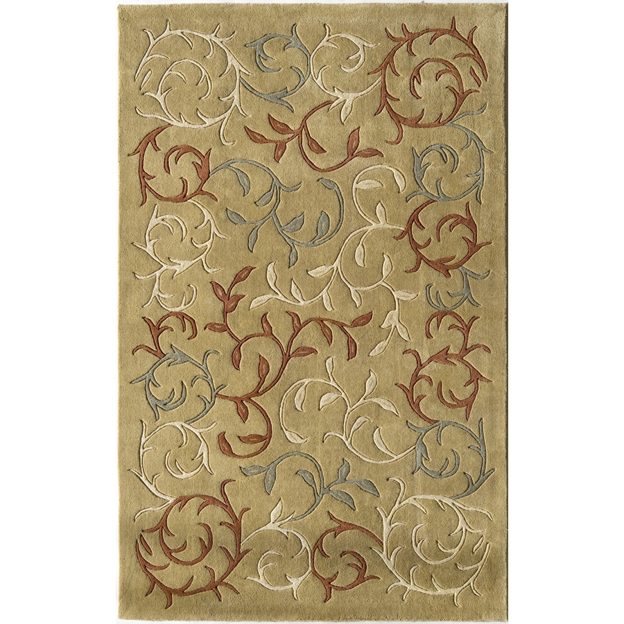 Rugs America Pacific 18-in x 27-in Rectangular Cream Floral Wool Accent Rug
