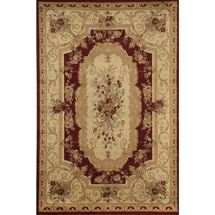 Rugs America Sorrento Aubusson Red Rectangular Indoor Woven Area Rug (Common: 8 x 11; Actual: 94-in W x 130-in L)