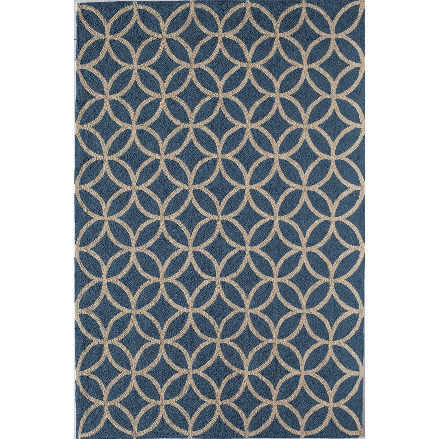 Shop Rugs America Lenai Azure Blue Round Indoor And Outdoor Hand Hooked Area
