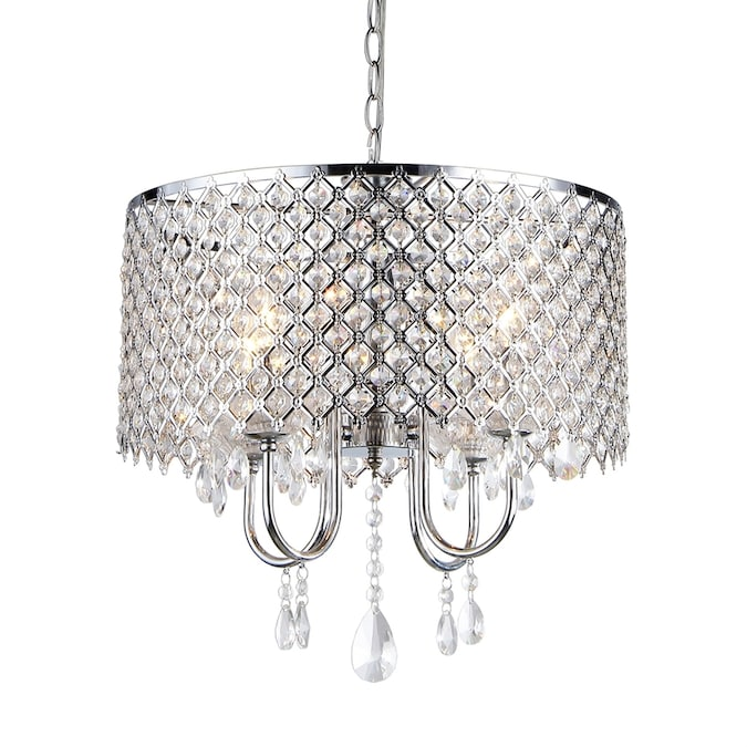 Home Accessories Inc 4 Light Silver Traditional Crystal Chandelier In The Chandeliers Department At Lowes Com