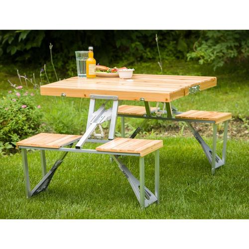 Marvelous Leisure Season 2 Ft 9 In Brown Wood And Aluminum Rectangle Folding Picnic Table At Lowes Com Spiritservingveterans Wood Chair Design Ideas Spiritservingveteransorg