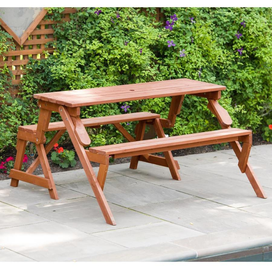Leisure Season 4 Ft 7 In Brown Wood Rectangle Picnic Table At Lowescom