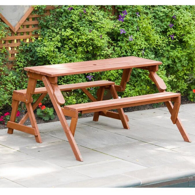 Leisure Season 4 Ft 7 In Brown Wood Rectangle Picnic Table