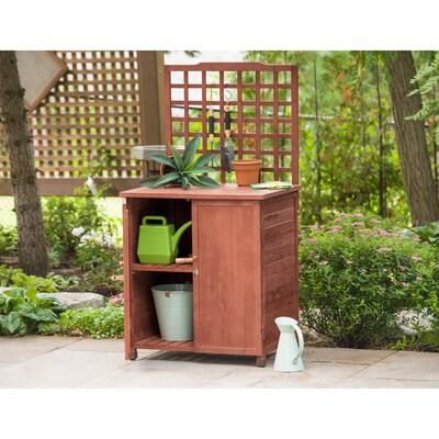 32-in x 61-in x 24-in Medium Brown Potting Bench