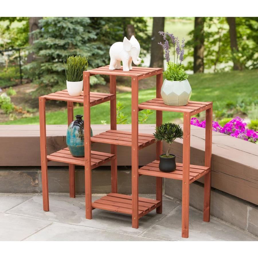 Leisure Season 34 In Natural Outdoor Rectangular Wood Plant Stand In The Plant Stands Department At Lowes Com