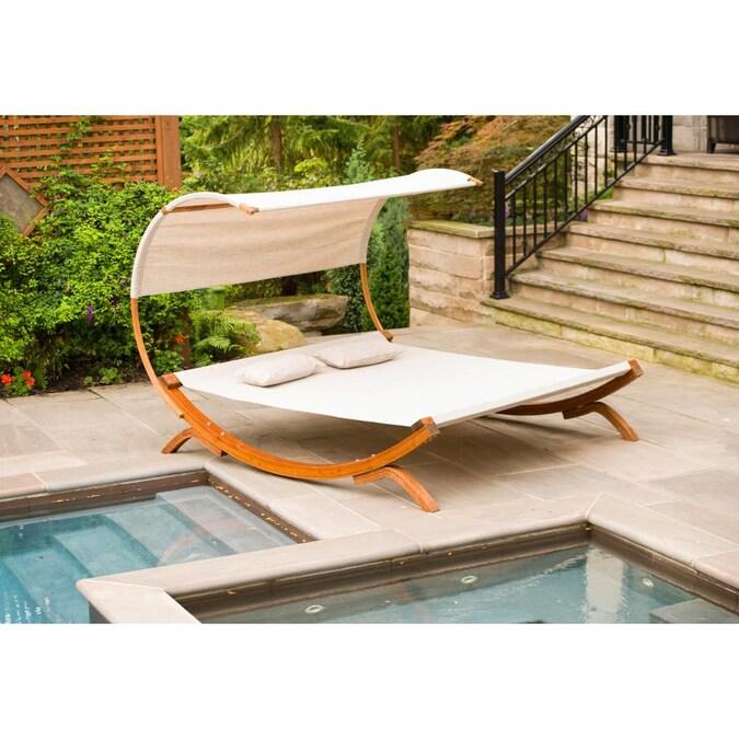 Um Brown Wood Outdoor Swing Bed, Patio Bed Swing