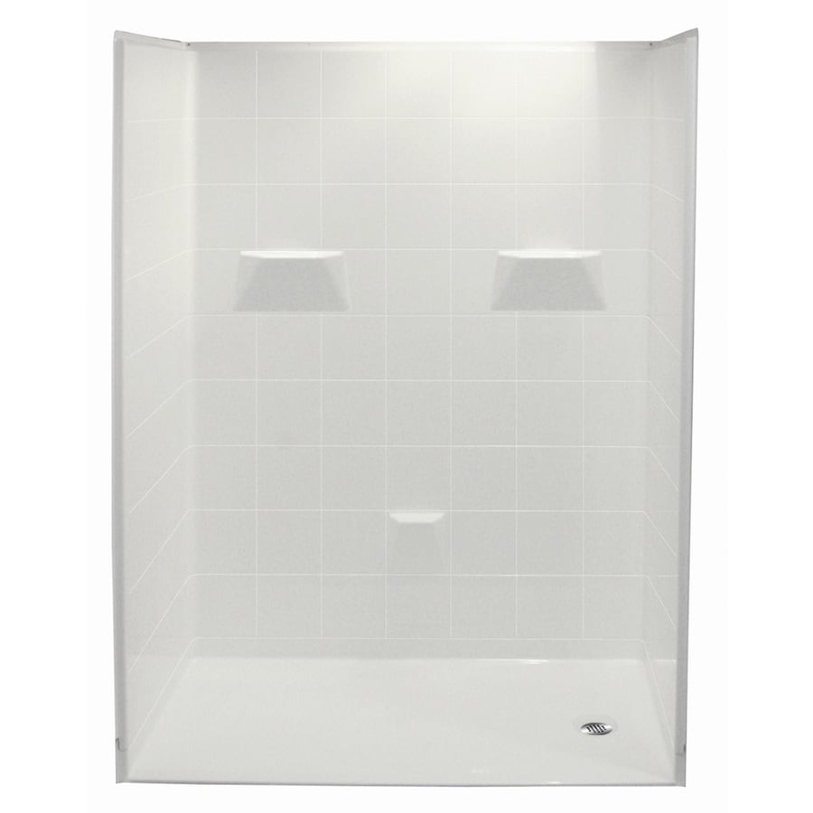 Laurel Mountain Jakeston Low Zero Threshold - Barrier Free White Acrylic Wall and Floor 5-Piece Alcove Shower Kit (Common: 30-in x 60-in; Actual: 78-in x 31-in x 60-in)