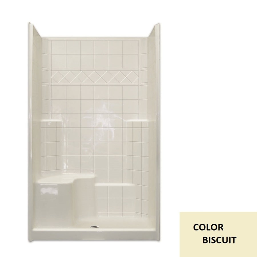 Laurel Mountain Benton Low Threshold- Barrier Free Biscuit Gelcoat/Fiberglass Wall Gelcoat/Fiberglass Floor 3-Piece Alcove Shower Kit (Common: 36-in x 48-in; Actual: 79.5-in X
