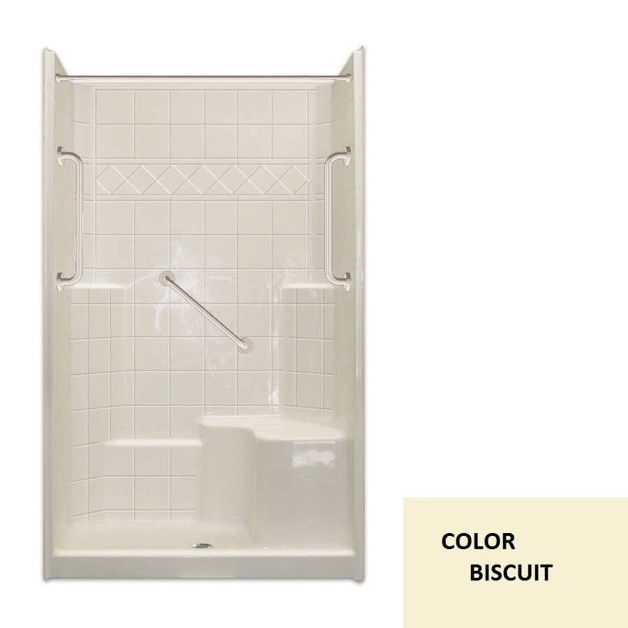 Laurel Mountain Spencer Low Threshold - Barrier Free Biscuit Acrylic Wall and Floor 3-Piece Alcove Shower Kit (Common: 36-in x 48-in; Actual: 79.5-in x 37-in x 48-in)