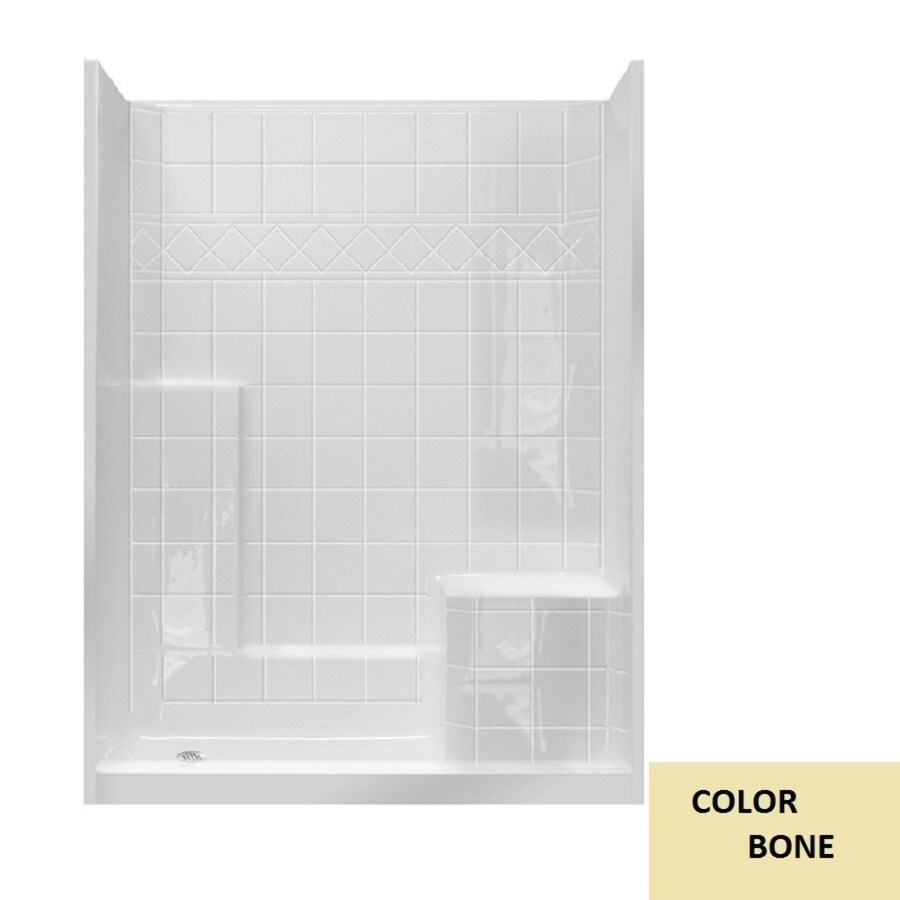 Laurel Mountain Atwood Low Threshold- Barrier Free Bone Gelcoat/Fiberglass Wall Gelcoat/Fiberglass Floor 3-Piece Alcove Shower Kit (Common: 32-in x 60-in; Actual: 77-in X