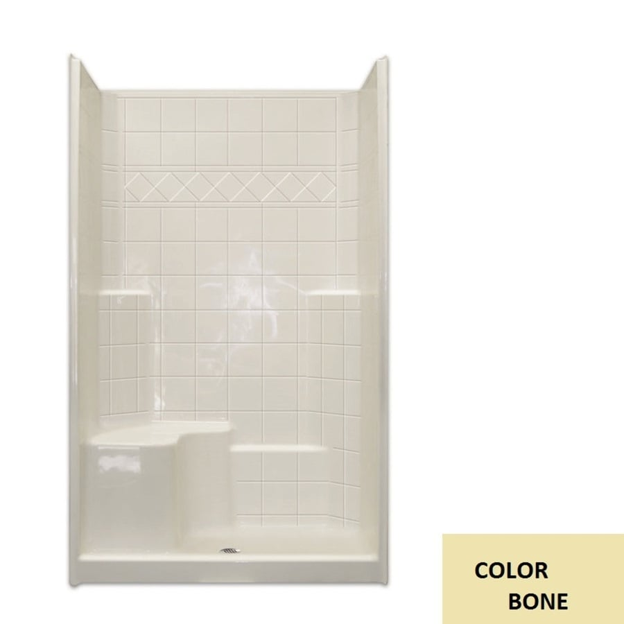 Laurel Mountain Benton Low Threshold - Barrier Free Bone Acrylic Wall and Floor 3-Piece Alcove Shower Kit (Common: 36-in x 48-in; Actual: 79.5-in x 37-in x 48-in)