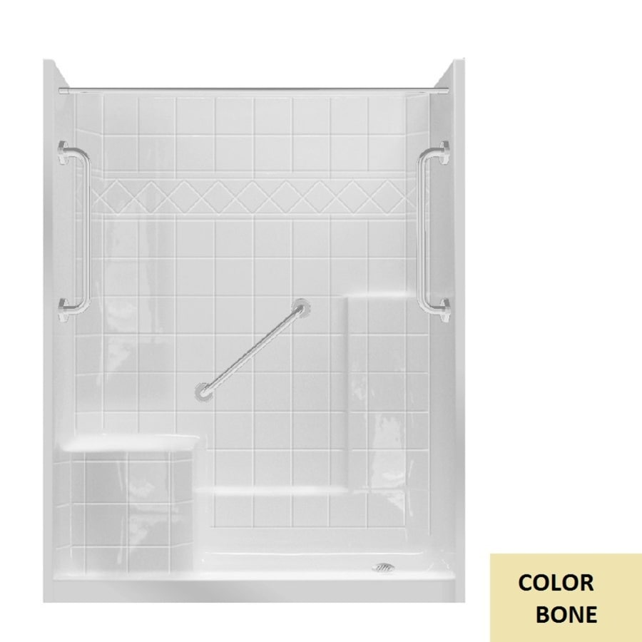 Laurel Mountain Loudon Low Threshold Bone 3 Piece 32 In X 60 In X 77 In Alcove Shower Kit In The Alcove Shower Kits Department At Lowes Com
