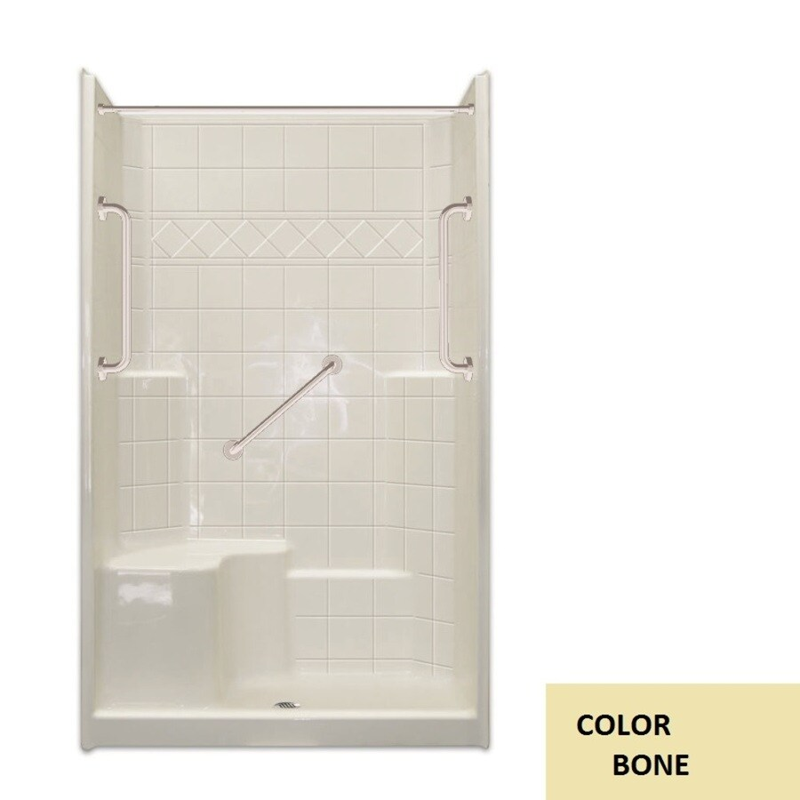 Laurel Mountain Spencer Low Threshold- Barrier Free Bone Gelcoat/Fiberglass Wall and Floor 3-Piece Alcove Shower Kit (Common: 36-in x 48-in; Actual: 79.5-in x 37-in x 48-in)
