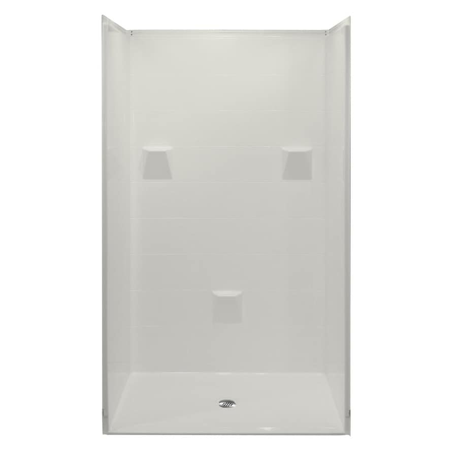 Laurel Mountain Bartlett Low Zero Threshold- Barrier Free White Acrylic Wall Acrylic Floor 4-Piece Alcove Shower Kit (Common: 40-in x 48-in; Actual: 78-in X