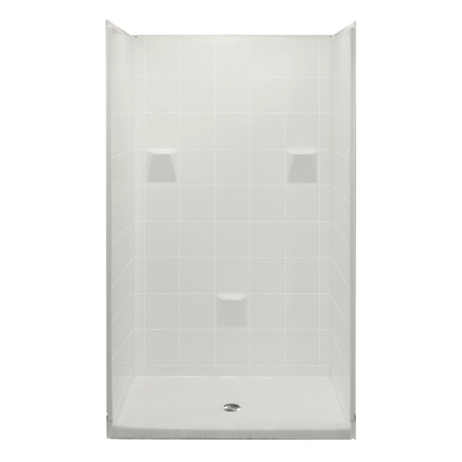 Laurel Mountain Collinwood Low Threshold - Barrier Free White Acrylic Wall and Floor 4-Piece Alcove Shower Kit (Common: 36-in x 48-in; Actual: 78-in x 37-in x 48-in)