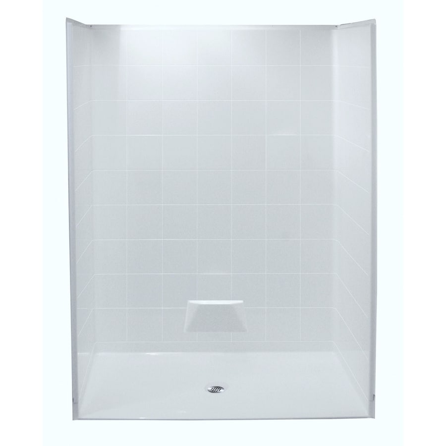 Laurel Mountain Danridge Low Zero Threshold - Barrier Free White Acrylic Wall and Floor 5-Piece Alcove Shower Kit (Common: 54-in x 54-in; Actual: 78-in x 51-in x 51-in)