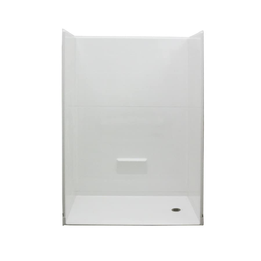 Laurel Mountain Obion Low Zero Threshold - Barrier Free White Acrylic Wall and Floor 5-Piece Alcove Shower Kit (Common: 40-in x 54-in; Actual: 78-in x 37-in x 54-in)