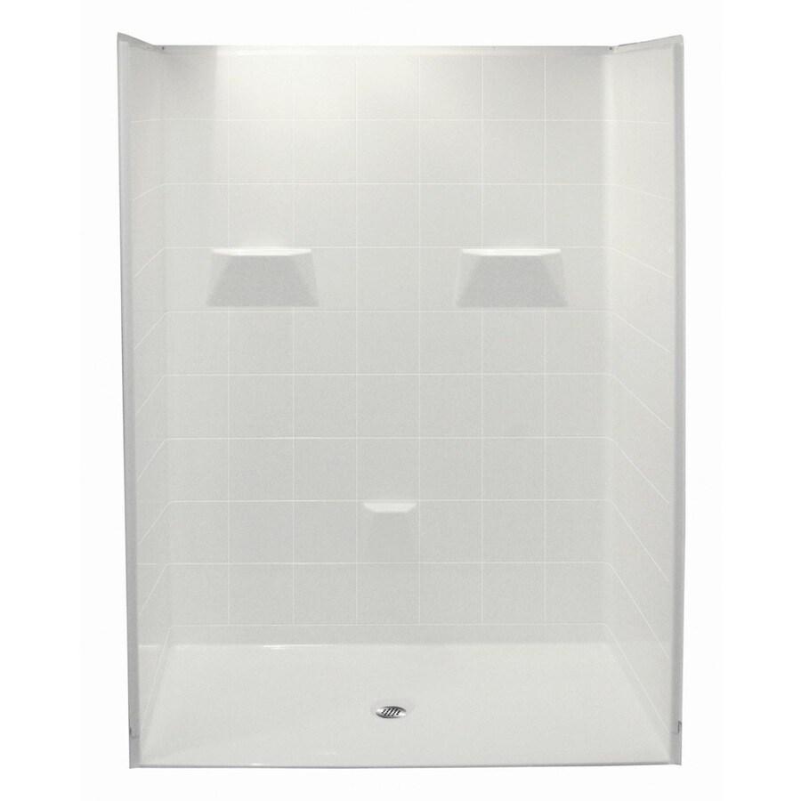 Laurel Mountain Ridgely Low Zero Threshold- Barrier Free White Gelcoat/Fiberglass Wall Gelcoat/Fiberglass Floor 5-Piece Alcove Shower Kit (Common: 32-in x 60-in; Actual: 78-in X
