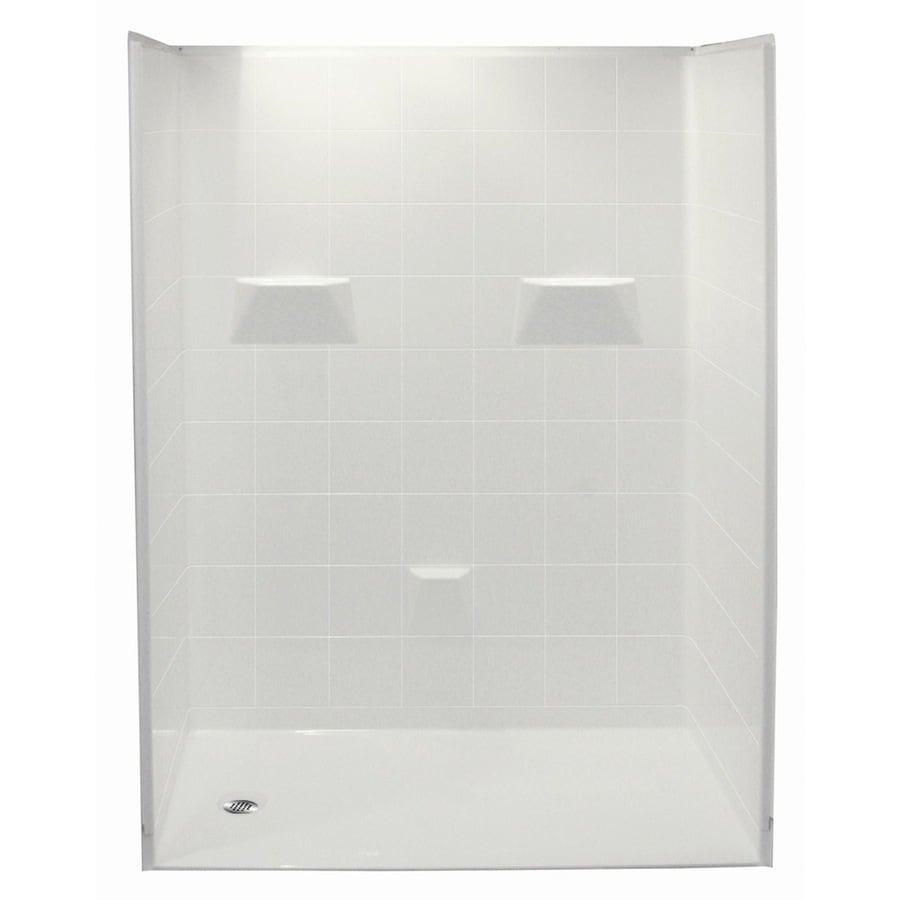 Laurel Mountain Williston Low Zero Threshold - Barrier Free White Acrylic Wall and Floor 5-Piece Alcove Shower Kit (Common: 33-in x 60-in; Actual: 78-in x 34-in x 60-in)
