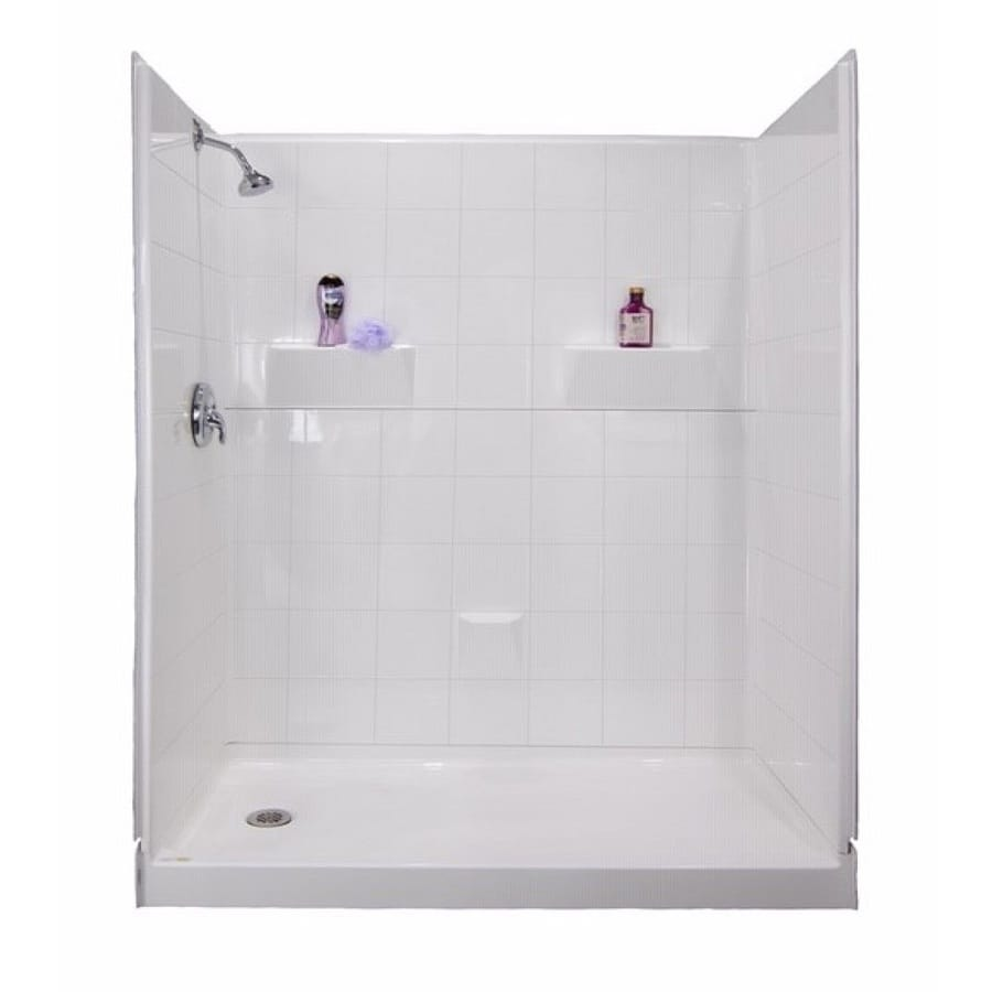 Laurel Mountain Doyle Low Threshold - Barrier Free White Gelcoat/Fiberglass Wall and Floor 5-Piece Alcove Shower Kit (Common: 33-in x 60-in; Actual: 80-in x 34-in x 60-in)