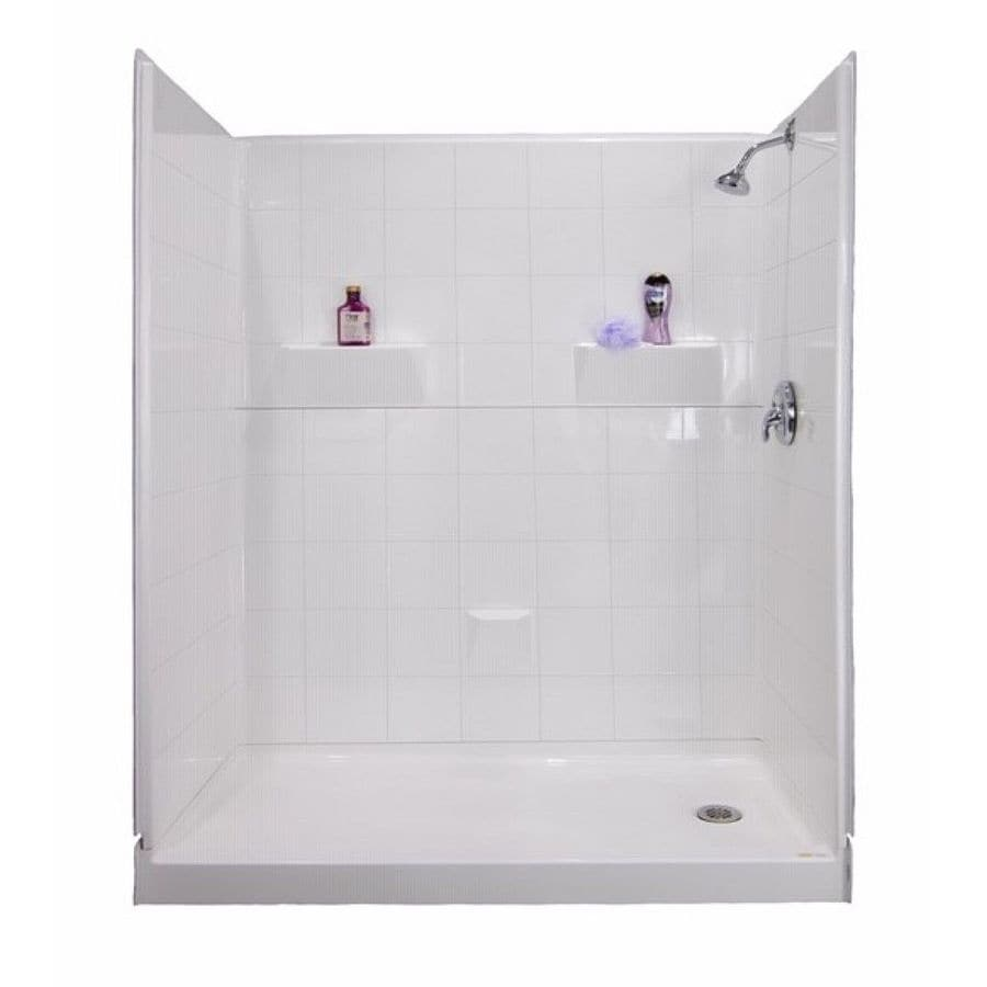 Laurel Mountain Doyle Low Threshold- Barrier Free White Gelcoat/Fiberglass Wall and Floor 5-Piece Alcove Shower Kit (Common: 33-in x 60-in; Actual: 80-in x 34-in x 60-in)