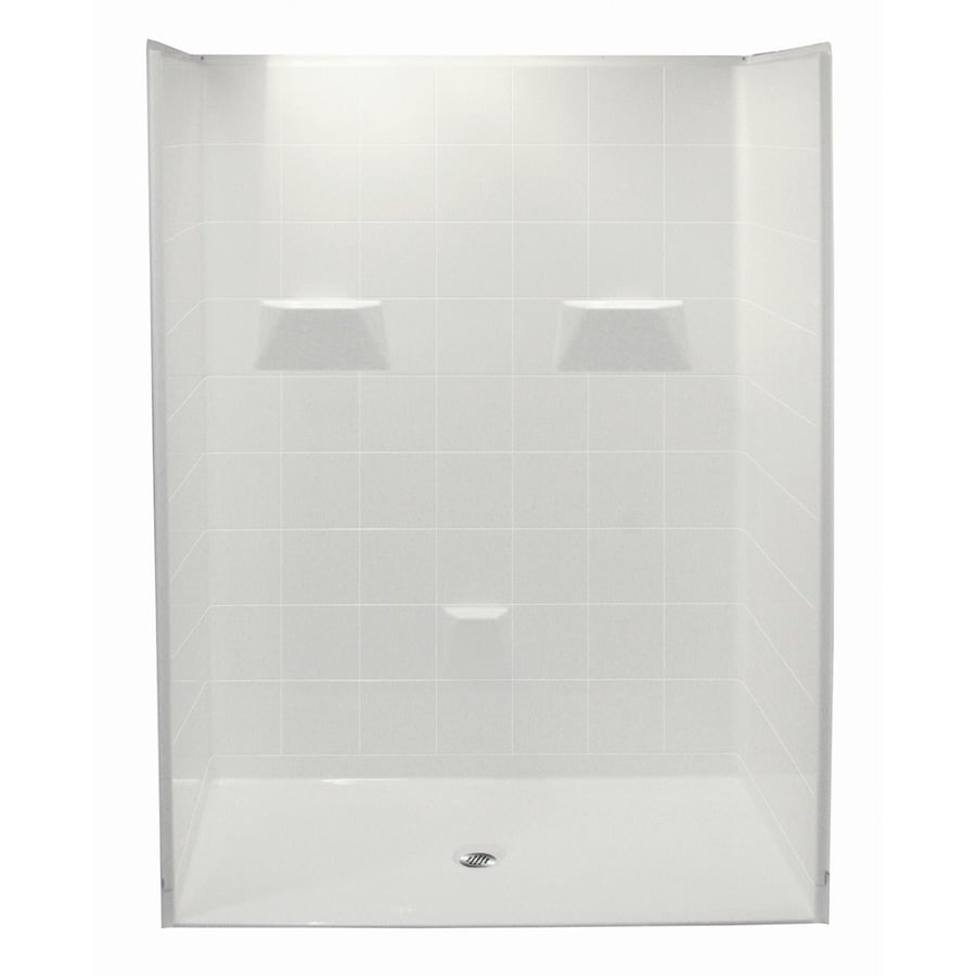 Laurel Mountain Saulsbury Low Zero Threshold - Barrier Free White Acrylic Wall and Floor 5-Piece Alcove Shower Kit (Common: 48-in x 60-in; Actual: 78-in x 49-in x 60-in)