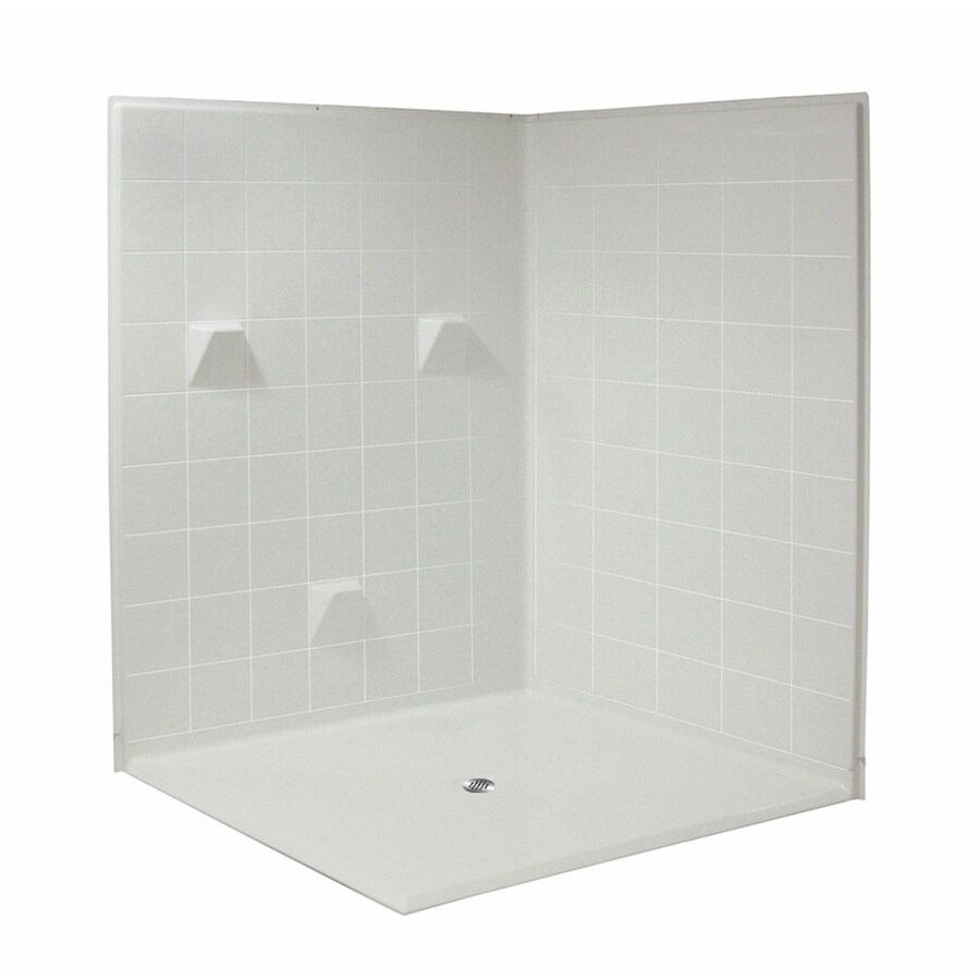 Laurel Mountain Tazewell Low Zero Threshold- Barrier Free White Acrylic Wall Acrylic Floor 3-Piece Alcove Shower Kit (Common: 60-in x 60-in; Actual: 78-in X